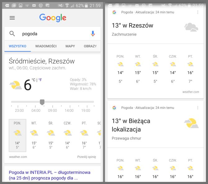 Interfejs Google Now
