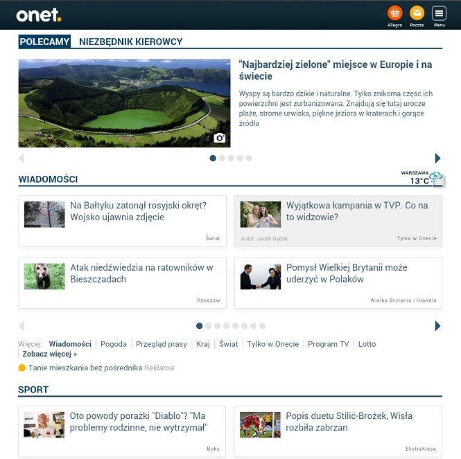 Nowy Onet - na tablecie
