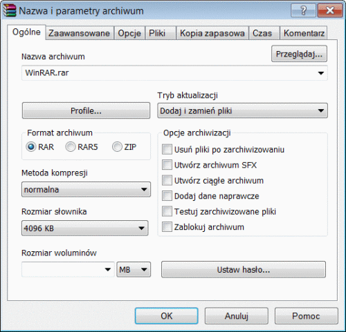 WinRAR UI screen 2